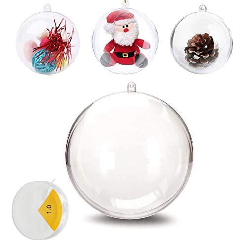 Uhat Pack 5 Transparent 4-12CM Large Empty Baubles to Fill DIY Crafts Fillable Baubles Ornament Hanging Ball for Decoration (12cm)