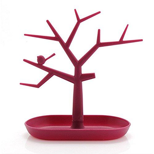 Kudiro Organizador de joyas Soporte de exhibición de árbol de joyería es adecuado para collares, pulseras, pendientes, anillos (rojo)