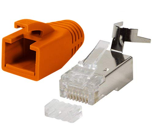 odedo® 10er Pack Crimpstecker orange CAT 7, CAT 7A, CAT 6A für Verlegekabel bis 8mm 10GBit Gigabit Ethernet starre oder Flexible Adern 1.2mm-1.45mm, RJ45 Stecker Metall geschirmt Einfädelhilfe