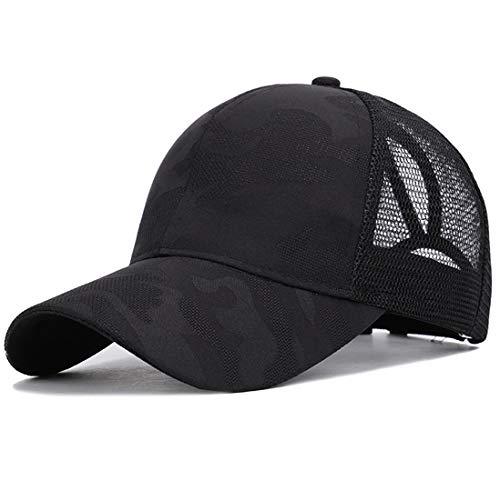 Yixda Baseball Kappe Damen Mädchen Sonnenhut Mesh Pferdeschwanz Cap (Schwarz)