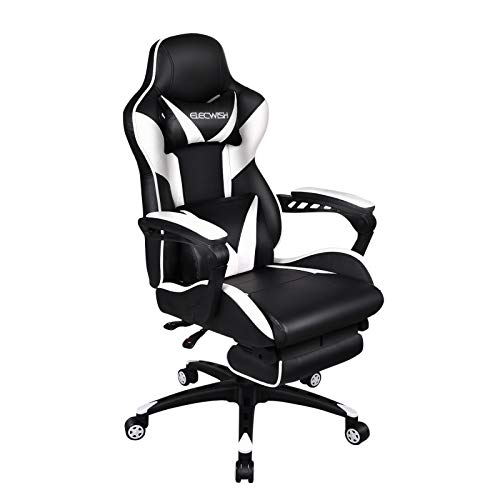 ELECWISH Gaming Chair with Massage & Footrest, Video Computer Chair, Office Desk Chair, Ergonomic Conference Executive Manager Work Chair, PU Leather High Back Adjustable Task Chair, White