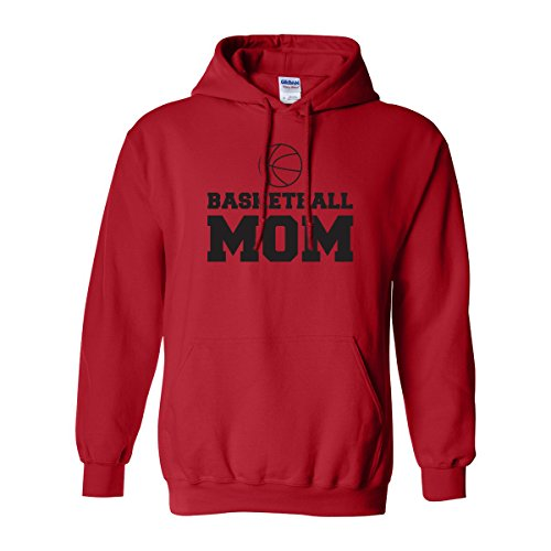 Basketball Mom Adult Hooded Sweatshirt in Red with Black Text - Large