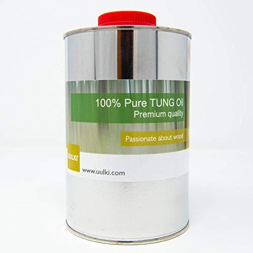 Uulki 100% reines Tungöl | Holzpflege für Innen und Aussen | Holzöl Wasserabweisend Lebensmittelecht Natürlich (1 L)