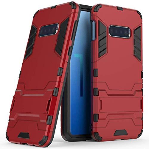 Hoesje voor Samsung Galaxy S10 (6,1 inch Scherm) 2 in 1 Hybrid Rugged Schokbestendige Back Cover met Kickstand Hoes (Rood)