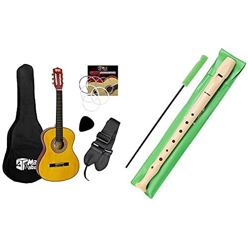 Tiger Pack De Guitarra Clásica Española Para Niños, Tamaño 3/4, De Mad About + Hohner 9508 Flauta De Plástico