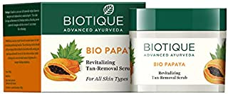 Biotique BIO PAPAYA Revitalizing Tan- Removal scrub 75gm/ 2.65 Fl.Oz. I For All Skin Type I Removing Dead Skin cells I Pap...
