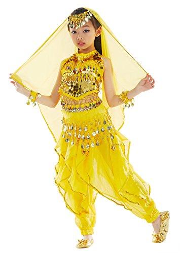 BellyQueen Vestito Danza del Ventre Costume Danza Classica Costume Danza Orientale Abito Danza Indiana per Déguise Carnevale Spettacolo Costume 8-11 Anni Giallo