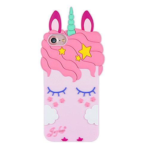 Joyleop Pink Unicorn Case for iPhone 5 5S 5C,Cartoon Silicone Cute Animal 3D Cool Fun Cover,Kawaii Character Fashion Unique Kids Girls Cases,Soft Rubber Shell Protector Cases for iPhone5 iPhone 5S