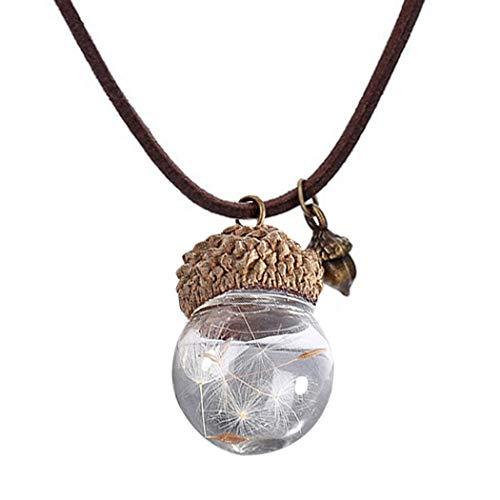 COSYOO Frauen Fallen Anhänger Halskette Handgemachte Gefälschte Tannenzapfen Löwenzahn Samen Seil Charm Glaskugel Halskette