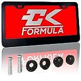 CK Formula Black License Plate Frame, Aluminum Metal, 2 Pre-Drilled Screw Holes with Install Kit, Universal Fit, Car Wash Safe, Weatherproof, 1 Piece