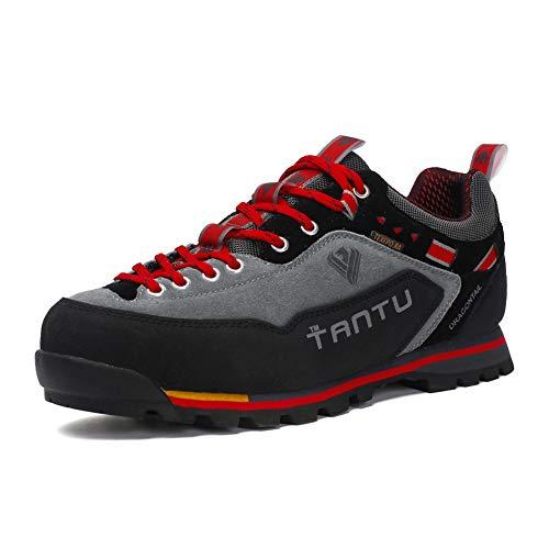 Showlovein Herren Wanderschuhe High Top Trekking-Schuhe rutschfeste Atmungsaktive Wanderschuhe Trekking & Hiking Shoes (Graun, 44)
