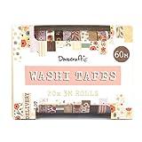 Dovecraft Washi - Caja de cinta adhesiva (20 diseños, 10 mm de ancho, 3 m, incluye caja de almacenamiento, para manualidades, papelería, diario, decoración del hogar, papel, multicolor, talla única