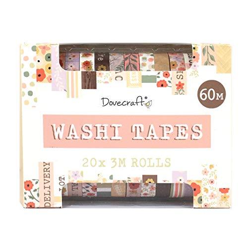 Dovecraft Washi Tape Box, 20 Designs, Paastels-10 mm breit, 3 m Rollen, inklusive Aufbewahrungsbox für Bastelarbeiten, Schreibwaren, Journaling, Heimdekoration, Papier, mehrfarbig, Einheitsgröße