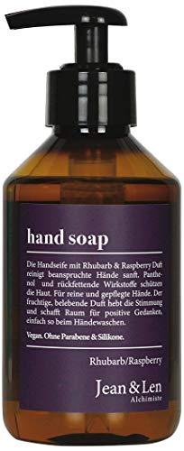 Jean & Len Handseife Rhubarb & Raspberry, für reine und gepflegte Hände, ohne Parabene & Silikone, 250 ml