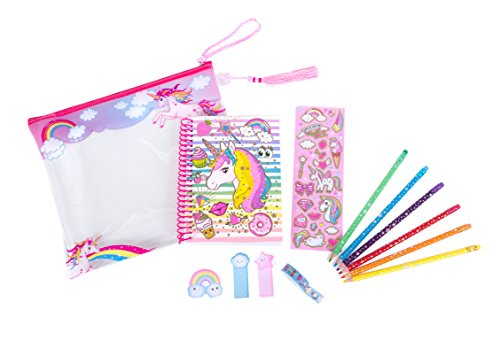 Hot Focus Coloring Journal Set - Rainbow Unicorn Coloring Book, Pencil Case, Erasable Colored Pencils, Sticky Notepads, Stickers and Washi Tape for Kids