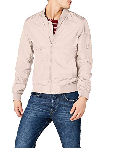 Urban Classics Men's Bomber Casual Flight Fitted Waist and Cuffs, Longsleeve Jacket with Pockets and Zipper, Light Pink, L