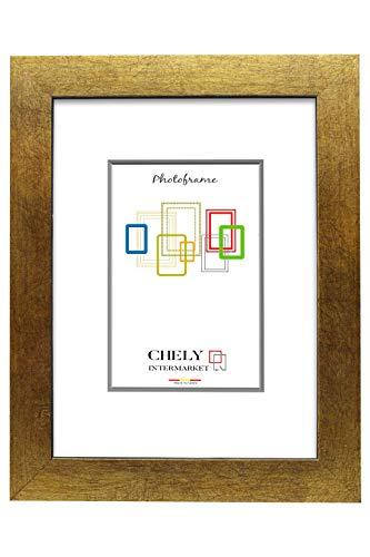 Chely Intermarket, Marco de Fotos Grande 30x40 cm (Dorado) Mod-230   Estilo galería   Marco de Madera para Decoración de Casa   Fotografías de Boda   moldura con Relieve.(230-30x40-0,75)