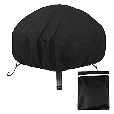 QRANSS Fire Pit Cover Round, Rainproof, Windproof Cover for Fire Bowl Outdoor Garden Patio Heater Cover with Drawstring Cord - 85 x 40cm by QRANSS