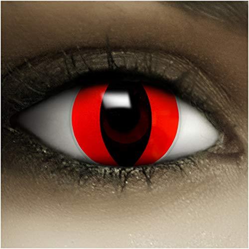 Farbige Kontaktlinsen ohne Stärke Rote Katze + Kunstblut Kapseln + Kontaktlinsenbehälter, weich ohne Sehstaerke in rot, 1 Paar Linsen (2 Stück)
