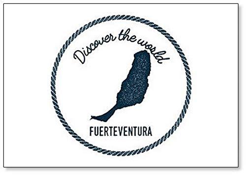 Fuerteventura Kaart en Ontdek de World Lettering Koelkast Magneet