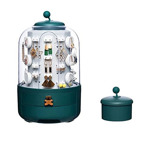Organizador de joyas giratorio 360 Caja de almacenamiento de cosméticos transparente organizador de maquillaje pendiente collar organizador de escritorio-1