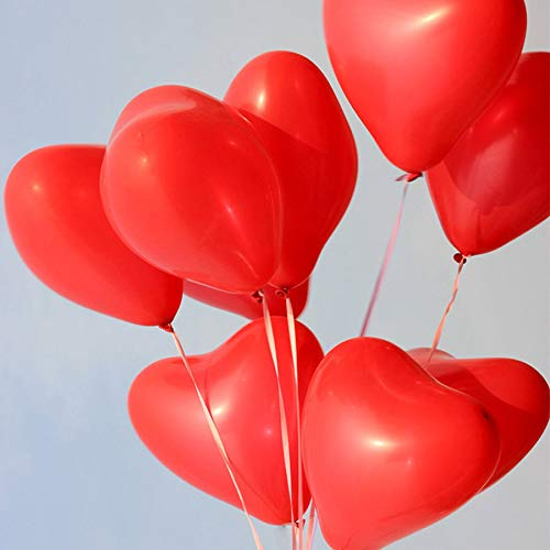 MOOKLIN (100 Pezzi) Palloncini Cuore Palloncini Amore con Cuore a Forma di Palloncino in Lattice per Nozze Partito Compleanno o Decorazione Natalizia – Rosso