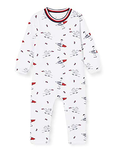 Tommy Hilfiger Baby Printed Coverall L/s Body, Blanco (White 0K4), Talla única (Talla del Fabricante: 74) para Bebés