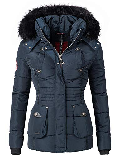 Marikoo Damen Winter Jacke Steppjacke Vanilla Blau Gr. M