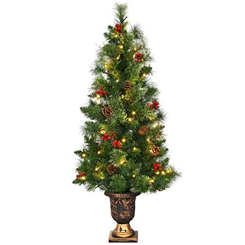 Goplus 4ft Artificial Christmas Tree Green Optical Fiber 130 Tips PVC with 41 Plastic Colorful Balls & Golden Star Solid Base Premium Decorations Full Tree (4 FT Fiber Optic)