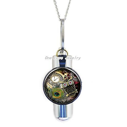 Ni36uo0qitian0ozaap Collar de urna de cristal con diseño de búho, para hombres y mujeres, accesorios de ropa para cremación, URN, collar, joyería, TAP266