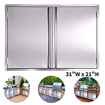 Minneer Outdoor Kitchen Door 31x21 Inch Double Wall BBQ Access Door, 304 All Brushed Stainless Steel Double BBQ Door for BBQ Island, Outside Cabinet, Barbecue Grill,Outdoor Kitchen