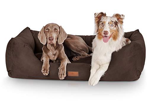 Knuffelwuff Hundebett XXL Dreamline Hundekorb Hundesofa Hundekissen Hundekörbchen waschbar Braun 120 x 85cm grosse Hunde