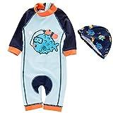 Toddler Boys Rash Guard Shirts Swim Trunks Quick Dry Short Sleeve Swimwear Sets with Hat Devil Fish Cartoon 6T