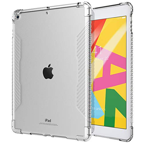 TiMOVO Case fit New iPad 7th Generation 10.2' 2019, Shockproof Impact Resistant Flexible Soft Transparent Clear TPU Protective Shell with Air Cushion Fit iPad 10.2-inch Retina display - Clear