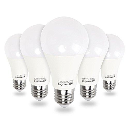 Aigostar - Bombilla LED E27 12W, Luz Blanca Fría 6400K,1020 lúmenes, Ángulo 280°, no regulable - 5 unidades