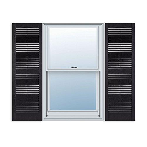 Custom Exterior Vinyl Louver Window Shutters w/Installation Spikes (Pair)