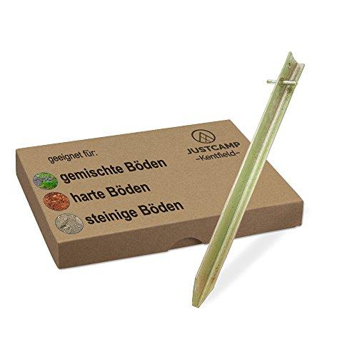 JUSTCAMP Zeltheringe Kentfield, Erdnägel, Stahl, Verzinkt, T-Profil - 50 cm [6 Stück]