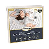 Rest LINE Cotton Terry Waterproof Mattress Protector (Queen), Hypoallergenic, Breathable Mattress Cover, Stretches