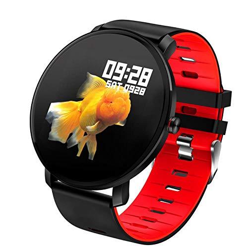 Hokaime Smart Watch Heart Rate Smart Bracelet Appearance Touch Call Smart Sports Watch Waterproof Smart Watch Men Bluetooth Heart Rate Monitor Fitness Tracker, red