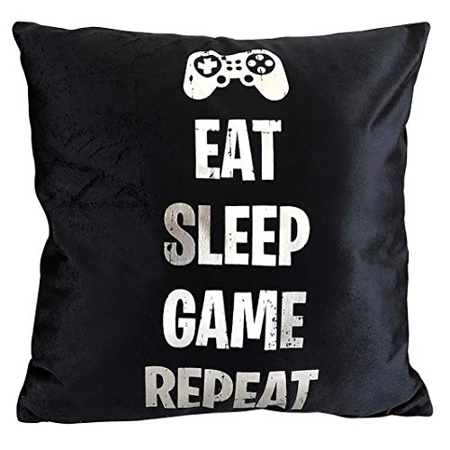 Sass Party & Gifts Eat Sleep Game Repeat Cushion Cover - Great Gift for A Gaming Fan