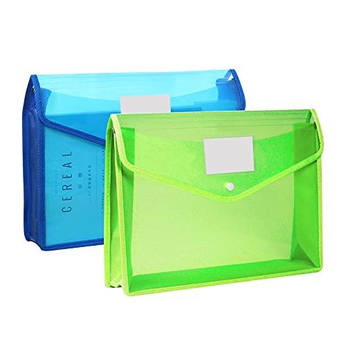ファイルケース B4サイズ 2個セット ボタン式 クリア ファイルケース 大容量 名刺ポケット付き オフィス用品 整理収納 資料 書類 整理 分類収納 文房具 学校 (2個セット)