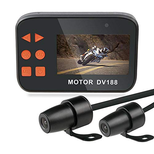 "Motorcycle Dash Cam, OXOQO Waterproof HD 1080p 2.7""LCD Screen 130° Wide Angle Dual Lens Front & Rear Motorcycle Video Recorder Driving Recorder Sports Action Camera with Night Vision"