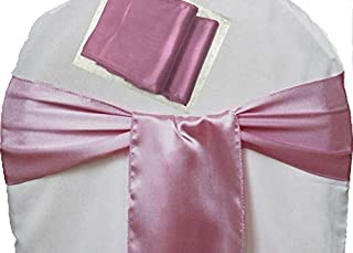 mds Pack of 150 Satin Chair Sashes Bow sash for Wedding and Events Supplies Party Decoration Chair Cover sash -Dusty Pink