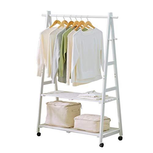 Perchero de pie con polea, estante de almacenamiento para ropa, sombrero/zapatos, estante multifunción de madera maciza, 2 niveles (color: blanco, tamaño: 60 cm)