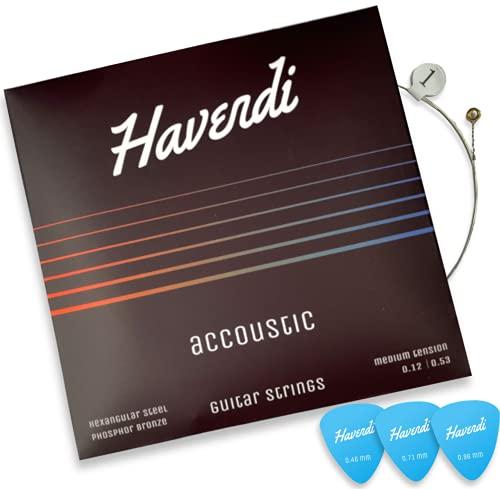 HAVENDI® Cuerdas para guitarra acústica prémium - brillante calidad de sonido Cuerdas de acero para guitarra acústica revestidas con bronce fósforo (juego de 6 cuerdas, incluye 3 púas)