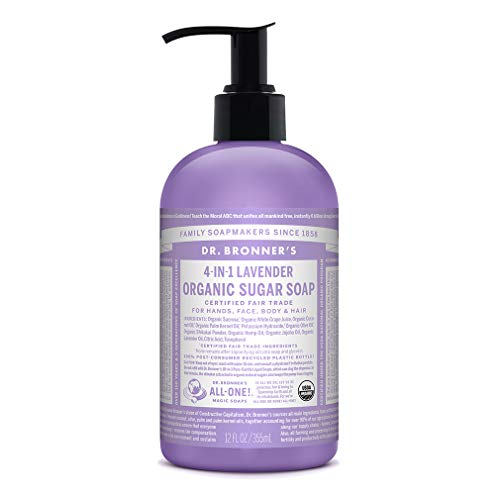 Dr. Bronner's - Organic Sugar Soap (Lavender, 12 Ounce) - Made with Organic Oils, Sugar and Shikakai Powder, 4-in-1 Uses: Hands, Body, Face and Hair, Cleanses, Moisturizes and Nourishes, Vegan