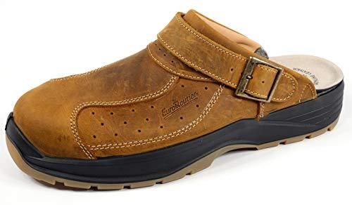 EuroRoutier Premium Leather Tucson Brown, Zuecos, Chanclas de seguridad certificadas SB+A+E+FO+SRC Marrón Size: 45 EU