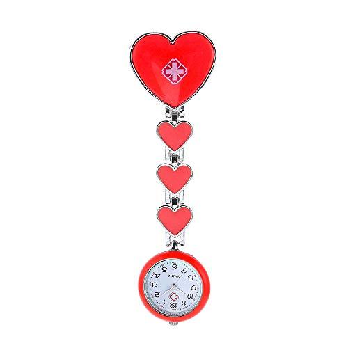 ARMAC Enfermera Lapel Pin Fob Watch Enfermería Colgante Médico Doctor Reloj de bolsillo (rojo)