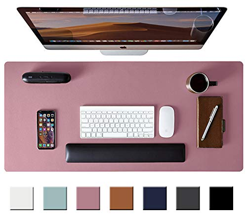 Leather Desk Pad Protector,Mouse Pad,Office Desk Mat, Non-Slip PU Leather Desk Blotter,Laptop Desk Pad,Waterproof Desk Writing Pad for Office and Home (Purple,31.5' x 15.7')