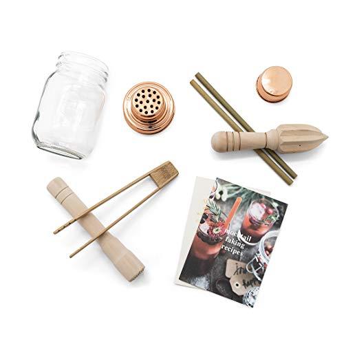 Calm Club Mocktail Shaker Kit – Mezclador Set incluye Mason Jar Coctelera, Exprimidor, Muddler, pinzas de bambú, pajitas de bambú y Mocktail receta Booklet